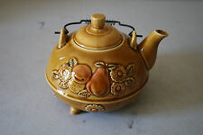 Beautiful Decorative Pottery Teapot w/ Fruit and Flower Motif Made in Japan