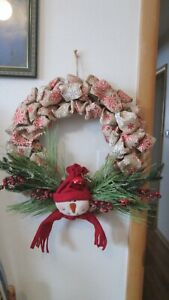 Home Door Wreath Christmas Snowman Burlap Ribbon Snowflakes Bell Hand Made 18-20