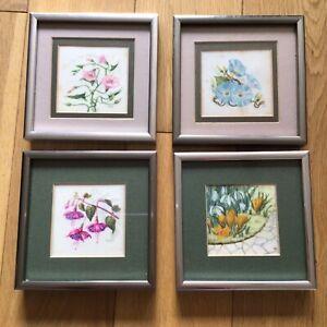Artist Ina Maria Bachstein 4 Miniature Watercolour Paintings Floral & Botanical