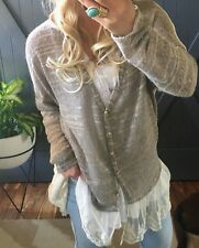 XL New Anthropologie Lace Crochet Hem Knit Back Blouse Sweater Women's X-LARGE