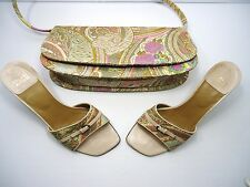 Stuart Weitzman heels and matching purse slip-on kitten heel shoe 7M - Paisley!