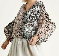 New Umgee Top 1X Black Tan Mixed Animal Leopard Ruffle Boho Peasant Plus Size