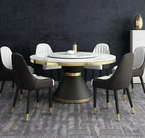 Round Marble Table With Gold Tone and Wood Base + WITH 5 Chairs