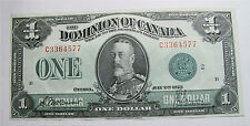 1923 DOMINION OF CANADA $1 DOLLAR BANKNOTE GREEN SEAL DC-25j GROUP 2 VF/XF
