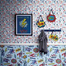 Bouffon Papier Peint Géométrique Rouge Bleu - Arthouse 696007 Triangles