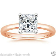2 Ct Princess Solitaire Engagement Wedding Promise Ring Solid 18K Rose Pink Gold