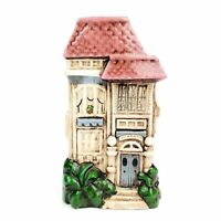 Vintage Ceramic Art Vase Victorian Row House Pink Roof Home Decor