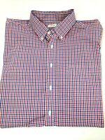 IZOD Men Button Shirt Classic Stretch Gingham Plaid 17-17.5, 34/35 Patriotic Red
