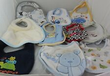 Set of Ten Assorted Boy's Bibs For Feeding Baby, Including My First Teddy