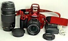 Canon EOS Rebel T5 DSLR Camera 2 Lenses (RED) Excellent.. Low Shutter Count 595