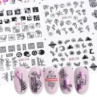Manicure Black White Flowers Water Transfer Decal Nail Stickers Green Leaves