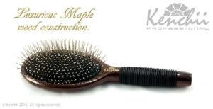 Kenchii Beauty -Large Metal Pin Bristle Brush w One-Piece Maple Body Pro Stylist