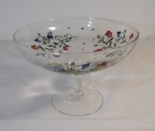 Vintage Clear Glass Pedestal Dish with Hand Painted Floral Signed