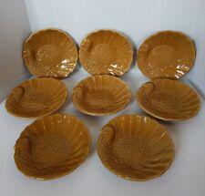 "NIB Pottery Barn Thanksgiving Turkey Plates Lunch Appetizer 7"" Carmel Set of 8"