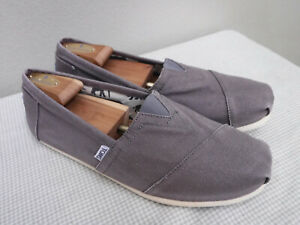 Men's TOMS CLASSIC CANVAS 10 Distressed Gray Slip On Loafers Casual Shoes