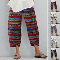 US STOCK Women Linen Cotton Casual Harem Pants Cropped Loose Basic Long Trousers