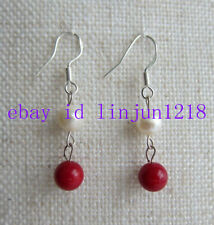 925 Silver Hook Earring 8mm Red Coral+7-8mm White Pearl