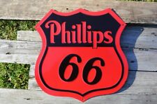 Phillips 66 Embossed Shield Tin Sign - Gas Station - Gasoline & Motor Oil