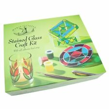 Stained Glass Craft Set Paint 5 Different Colours Instructions Patterns Gift