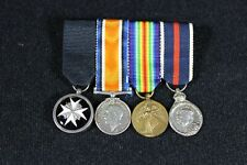 British WW1 4 Place Mini Medal Bar Order Of St. John Ambulance 1902 Victory B49