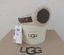 UGG SLATE CURLY SHEEPSKIN/ SUEDE WIRED AUDIO DEVICE EARMUFFS, NWT AND BOX