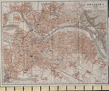 1925 GERMAN MAP ~ DRESDEN CITY PLAN TRAIN STATIONS ALBERT PARK GARDENS