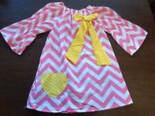New Handmade Toddler Girls Pink Chevron Dress With Yellow Bow Bell Sleeves 4T/5T