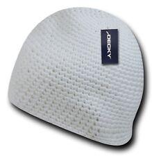 White Knit Braid Warm Winter Ski Cuffless Crochet Beanie Beanies Cap Hat Hats