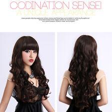 Femmes Cheveux 65cm Longue Ondulée Bouclés Cosplay Wig Perruque Hair-Brun foncé