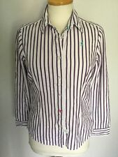 Joules Ladies Purple Striped Long Sleeve Shirt Size 8. Great Condition.