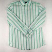 Banana Republic Shirt Mens 17/17.5 XL Long Sleeve Button Up White Green Striped