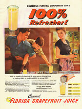 1950s vintage AD FLORIDA GRAPEFRUIT JUICE Canned  Art Family in Kitchen  022015