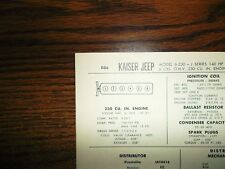 1967 Kaiser Jeep SIX Series J Models Toronado OHV 230 Cubic Inch Tune Up Chart