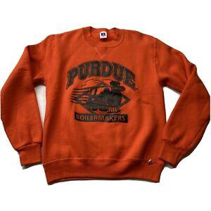 Vintage SMALL Orange Black 90's Russell Athletic Purdue Crewneck Sweatshirt
