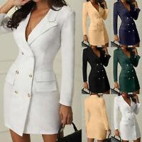 Femmes Bureau Robe Soirée De Fête À Manches Longues Boutons Bodycon Blazer Robe