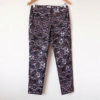 MARCS Black Colourful Geometric Print Cropped Tailored Office Work Pants Size 8