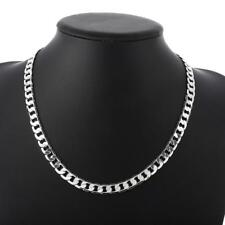 "Men's Fashion Cool 925Sterling Silver 8MM 20"" Flat Sideway Chain Necklace ZN034"