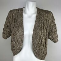 Chico's Womens 3/4 Sleeve Open Front Cardigan Sweater Sz 2 Multicolor Metallic