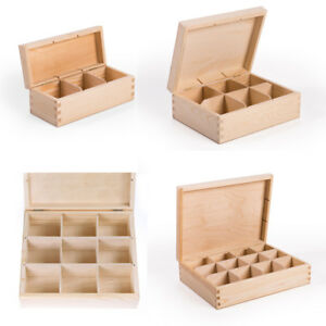 Teebox Teekasten HolzBox Kiefernholz Unbehandelt Decoupage 3 / 6 / 9 / 12 Fächer