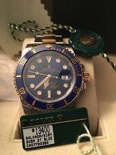 ♛ ROLEX ♛ Blue Dial Submariner Date 18k Gold & Steel 116613LB Ceramic Bezel 2015