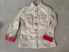 "CHICO""S Beige Jacket Plus Size 3 (14/16) Pink accent stitches and sleeve fold up"