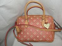 DOONEY & BOURKE Purse Pink Coated Canvas Monogram LOGO Satchel Tote Shoulder Bag