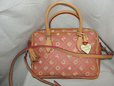 DOONEY & BOURKE Purse Pink Coated Canvas Monogram LOGO Satchel Tote Shoulder Bag