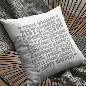 PERSONALISED WORD ART LARGE LUXURY CUSHION COVER ANY OCCASION FREE P&P CHRISTMAS