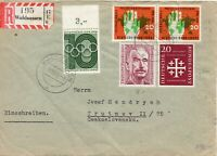 1956 Germany Registered Surface Cover from Waldsassen to Czechoslovakia 8 Oct 56