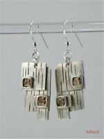 Woman Simple Citrine Earrings Hook Dangle Wedding Party vintage Jewelry Earring