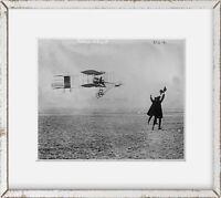 1909 photo Farman flying machine, in flight Vintage Black & White Photograph e9