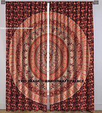 Indian Urban Elephant Mandala Door Window Balcony Maroon Curtains 2 PCs Valances