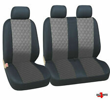 Peugeot Expert Boxer Partner Leatherette Diamond Look Grey - Black Seat Covers