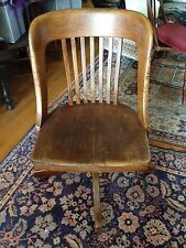 Colonial Chair Co., Antique Wood, Rolling Swivel Seat Library Desk Chair